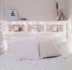 cute bedroom, fairy lights, white