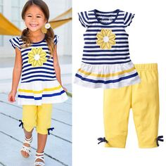 f6fe38d57842 2Pcs Children Baby Girls Kids Clothes Sets Flower T-Shirt Tops + Shorts Pants  Striped