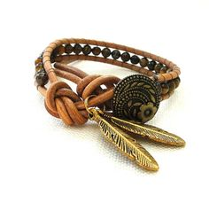 1wrap genuine leather beaded bracelet chan luu inspired single wrap with tiger eye glass beads vintage button leaf pendants boho surfer chic   by ShySu, $22.00