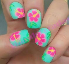 Tropical nail art designs are in vogue because summers give you unlimited options to flaunt your nails in peppy styles. Tropical Flower Nails, Tropical Nail Art, Tropical Nail Designs, Fabulous Nails, Gorgeous Nails, Diy Nails, Cute Nails, Hawaiian Nails, Accessoires Iphone