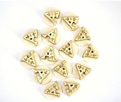 Mini Classic Initial Fondant Toppers - Perfect for Cupcakes, Cookies, Cakepops and Other Edible Creations - Weddings - Gold Fondant Initials by Les Pop Sweets on Gourmly