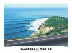SALSIPUEDES Surfing Poster Print - Ensenada, Mexico - El Nino 1983 -Available at www.sportsposterwarehouse.com California Surf, Northern California, Rocky Shore, Surfs Up, Pacific Coast, Poster Prints, Posters, San Diego, Surfing
