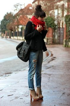 25 Ways to Look Feminine in Baggy Jeans Fall Winter Outfits, Autumn Winter Fashion, Winter Wear, Winter Style, Style Casual, Style Me, Casual Fall, Cool Outfits, Casual Outfits