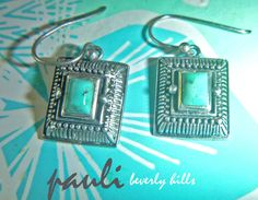 BARSE studio design Turquoise  Rectangles Oxidized Sterling .925 EARRINGS at http://stores.shop.ebay.com/paulibeverlyhills