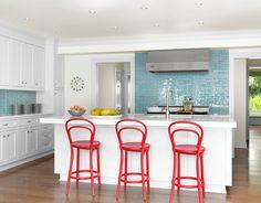 white kitchen with aqua blue backsplash tile | Amy Studebaker Design