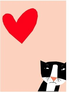 Valentines Card reluctant love tuxedo cat greeting от LizzyClara