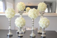 "Set of 6 Luxury Elegant 8"" Wedding ivory hanging foam flower balls wedding pomanders kissing balls, WEDDING CENTERPIECE, flower girl by KimeeKouture on Etsy https://www.etsy.com/listing/201274660/set-of-6-luxury-elegant-8-wedding-ivory"