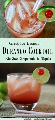 Durango cocktail is a delicious brunch beverage recipe that's made with tequila, amaretto, and grapefruit juice.This tequila cocktail is similar to a Paloma Refreshing Cocktails, Fun Cocktails, Summer Drinks, Cocktail Drinks, Easy Drink Recipes, Best Cocktail Recipes, Alcohol Recipes, Crowd Recipes, Grapefruit Tequila