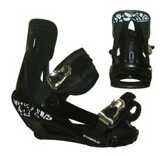 Symbolic Mission Snowboard Bindings Black Chrome Ratchit M L XL