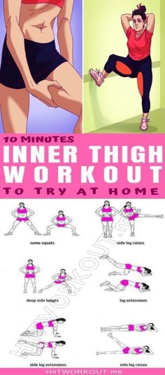 These 10 minute inner thigh workout combined with a balanced training plan and a nutritious diet will help you see results fast. The exercises utilize each of the 5 adductor muscles. By keeping the heart rate elevated youll burn body fat too as strengthen the inner thigh muscles. Now lets get to it. #fastdiet Toning Workouts, Easy Workouts, At Home Workouts, Workout Routines, Fitness Exercises, Fat Workout, Circuit Workouts, Workout Regimen, Yoga Fitness
