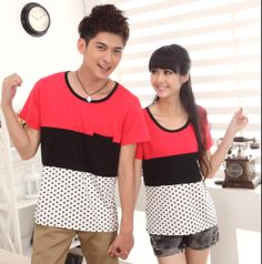 Hot Summer Korean Couple O-neck Clothes Fashoin Sweet polka dot color  Print Cotton Shorts Top For 2013 lovers6210 $20.28