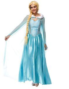 Blue Halloween Frozen Elsa Maxi Dress With Cloak Adult Female Costume