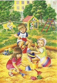 View album on Yandex. Playground Pictures, Illustration Mignonne, Children's Book Illustration, All Art, Kids Playing, Childrens Books, Art For Kids, Kindergarten, Preschool