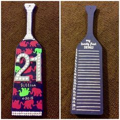 Lilly Pulitzer inspired 21st birthday paddle.