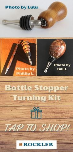 There are a great number of gifts to get a woodworker, and a turning kit is a great start! Rockler offers many different kinds of turning kits. Shop our variety here.  #createwithconfidence #bottlestopper #turningkit #rocklerturningkit #diybottlestopper Rockler Woodworking, Cool Woodworking Projects, Make A Gift, Gifts For Dad, Lathe Accessories, Lathe Tools, Wine Bottle Stoppers, Wood Turning Projects, Stainless Steel Bottle