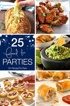 Party Food Round Up - 25 recipes from RecipeTin Eats that are great for party food! Fast to make and/or make ahead.   NEW YEAR'S EVE PARTY FOOD!