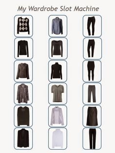 The Vivienne Files: 18=216, in a really big, perfect wardrobe slot machine... six top layers x six shirts or blouses x six pants or skirts =216 combinations.