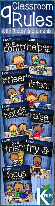 "This set of 9 classroom rules posters with ""I can"" statements will help foster a positive learning environment for your classroom. Included: I can be a good friend. I can keep my hands to myself. I can help clean up. I can raise my hand. I can be in cont"