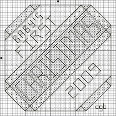 Free Ornament Collection II Cross Stitch and Back Stitch Charts: Free Baby's First Christmas Ornament Cross Stitch Pattern