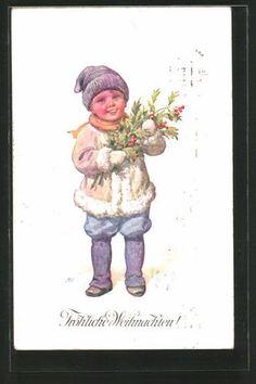 Vieux-artistes-AK-Karl-jour-ferie-joyeux-Noel-jeune-homme-avec-des-baies-1912