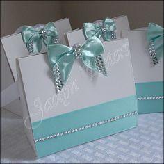 Elegant Purse Favor Boxes Aqua Satin Bow