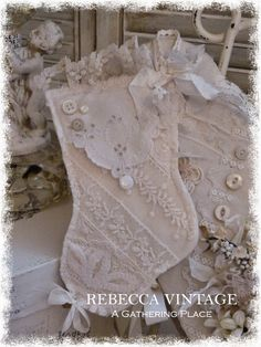 Every year I spend a lot of time hunting down the different components for the Tattered Vintage Lace Stocking Hangers (Ornaments) I offer. Vintage Christmas, Christmas Crafts, Christmas Decorations, Christmas Ornaments, Spode Christmas, Xmas, Shabby Chic Christmas Stockings, Sowing Projects, Shabby Chic Theme