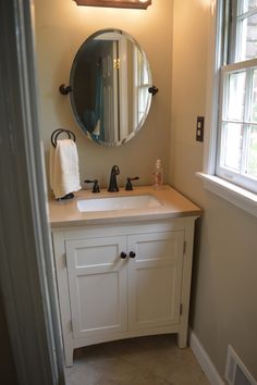 Master bathroom remodel: SW Jogging Path. Tile Roman Stone Beige. Allen Roth  Vanity
