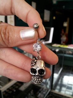 Skull Belly Ring on Etsy, $12.00
