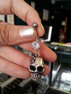 Skull Belly Ring on Etsy, $12.00