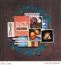 October scrapbook layout by Lisa Dickinson using the new October 2015 kit + cut files from Elle's Studio