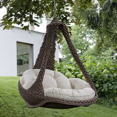 "Hammock chair Nido xl from Jobek - Image Hängesessel ""Nido xl"" von Jobek – Bild 15 Hammock chair – with and without frame Outdoor Porch Bed, Porch Swing, Backyard Hammock, Porch Furniture, Furniture Movers, Swinging Chair, Hanging Hammock Chair, Hanging Chairs, Hammock Swing"