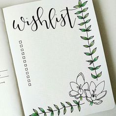 Bullet journal wishlist, flower drawing. | @bulletjournalxoxo