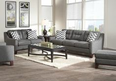 Shop for a Cindy Crawford Home Hadly Gray 7 Pc Living Room at Rooms To Go. Find Living Room Sets that will look great in your home and complement the rest of your furniture. Love these sofas, but not the lamps and tables Grey Living Room Sets, Living Room Redo, Classic Living Room, Living Room Furniture, Living Rooms, Gray Furniture, Furniture Layout, Furniture Sets, Cindy Crawford Home