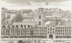 Georgian London -- Bart's. This image of St. Bartholomew's Hospital shows its mammoth scale in a way that is difficult to grasp...Officially, Barts has had at least four hundred beds for centuries (being founded as a poor-house in 1123 by the minstrel Rahere, entertainer to Henry I), but its main purpose as a hospital was to provide care for out-patients in the City and surrounds.