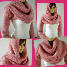 Ravelry: Celine Hood Scarf with sleeves pattern by Lilia Vanini Infinity Scarf Knitting Pattern, Hooded Scarf Pattern, Baby Sweater Patterns, Hooded Cowl, Knit Patterns, Baby Pullover Muster, Celine, Baby Knitting, Knitting Yarn
