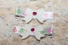 White and Pink Christmas Bows Hair Clips by FunkyBsDesigns on Etsy