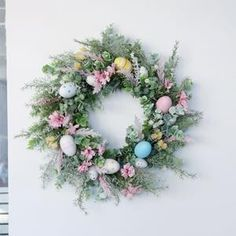 Crochet easter wreath door decoration easter door wreath door   Etsy Diy Spring Wreath, Pink Wreath, Green Wreath, Easter Wreaths, Holiday Wreaths, Easter Crafts To Make, Apple Wreath, Happy Easter Day, Easter Crochet