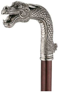 Asian Dragon Pewter Walking Stick - Design Toscano