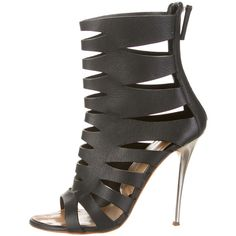 Pre-owned Giuseppe Zanotti Sandals (€305) ❤ liked on Polyvore featuring shoes, sandals, heels, black, kohl shoes, black cage sandals, black heel shoes, black shoes and black sandals