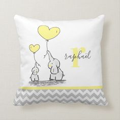 Personalized Elephant Yellow Grey Chevron Neutral Throw Pillow   Zazzle.com