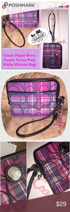 """Coach Poppy Berry Tartan Plaid Wallet Wristlet Bag Coach Poppy Berry Purple Tartan Plaid Wallet Wristlet Bag! 100% authentic, Coach Poppy Limited Edition wristlet wallet, black, pink & grey plaid accented with glittery """"C's"""", dog leash hook, pink satin lining, one int zip pocket, four int slip pockets, blk patent leather trim & strap, silver tone hw, top zipper closure & """"Coach"""" hang tag. 8 1/2"""" across x 5 1/2"""" x 3 1/2"""" with 7"""" shoulder / wrist clearance. Original hang tag was replaced with…"""