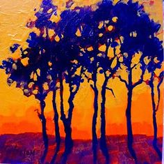 """Abstract Artists International: Colorful Contemporary Landscape Tree Art Painting """"Sunset Trees"""" by Colorado Mixed Media Abstract Artist Carol Nelson"""
