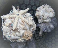 Seashell Beach Bride and Maid of Honor Bouquet Set by artseero