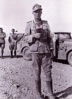 Rommel's Driver Helmut von Leipzig, somewhere in North Africa.