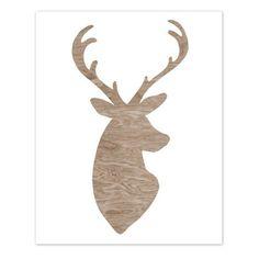 BOGO Sale -   Light Brown Woodgrain Faux Bois White Deer Head Silhouette Art Print  -  8 x 10 - My Deer - Woodland Decor. $16.00, via Etsy.