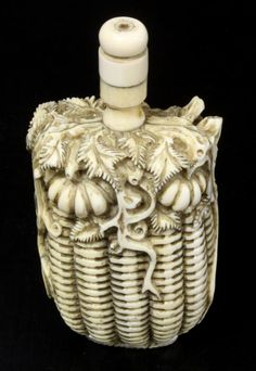 CHINESE CARVED IVORY PUMKIN BASKET SNUFF BOTTLE