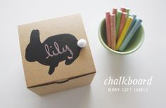How sweet would it be to personalize all your gifts with a little chalkboard? How inspiring since it could be any shape. Bunny gift labels from @Danyelle Mathews