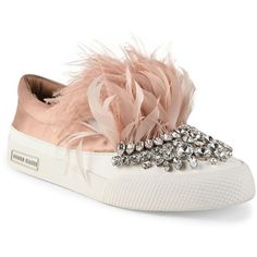 Miu Miu Jeweled Feather & Satin Skate Sneakers ($1,150) ❤ liked on Polyvore featuring shoes, sneakers, apparel & accessories, nude, miu miu sneakers, pull-on sneakers, rubber sole shoes, cap toe shoes and miu miu