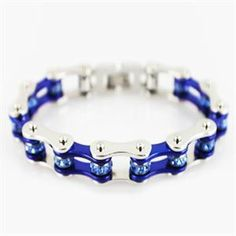 Silver & Candy Blue Bike Chain Bracelet with Blue Crystals