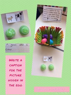 Write a caption for the picture hidden inside the plastic egg. EYFS